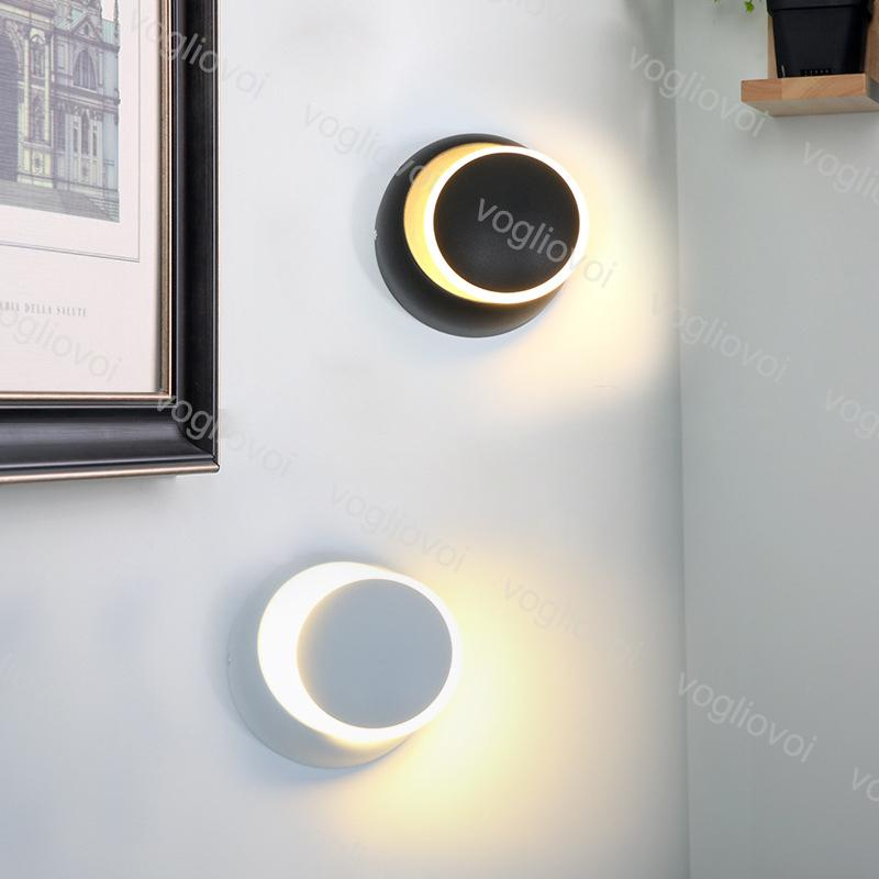 Lâmpada de parede Espiga 5W 6500K 3000K Rotação de 360 graus Ajustável 85-265V Creative moderna redonda para quarto de cabeceira luz sala de estar DHL