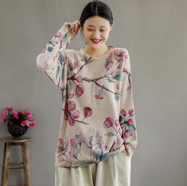 Pullover del fiore nazionali retrò Mujer O-Collo Casual Maglieria Casual Top Top manica lunga caduta primavera femminile maglione floreale pullo sciolto