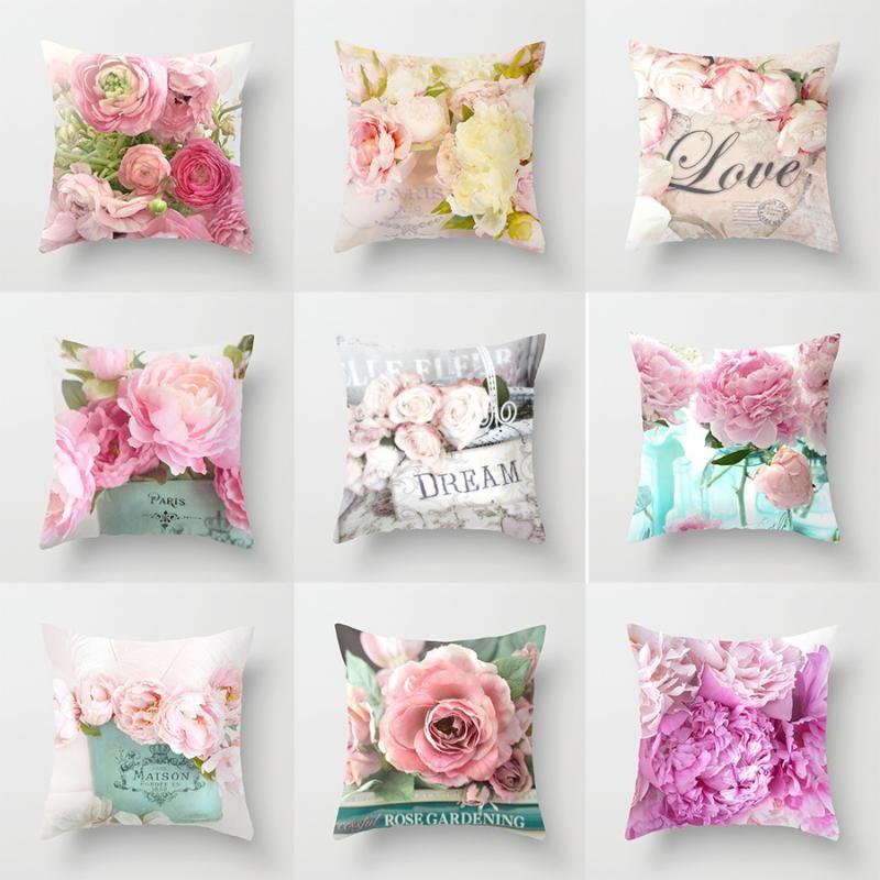 45 * 45 cm flores de rosa cubierta de cojín estilo nórdico hogar decoración de boda almohada para sofá cama funda de almohada de coches 40827