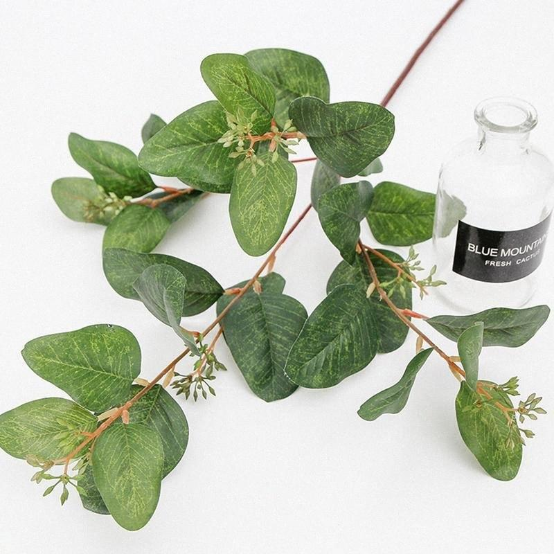 4 fork Artificial Berry Green Eucalyptus Branch Fake Fruit Leaves Decoration Kunstmatige Bessen Groene Eucalyptus Takken 8QFi#