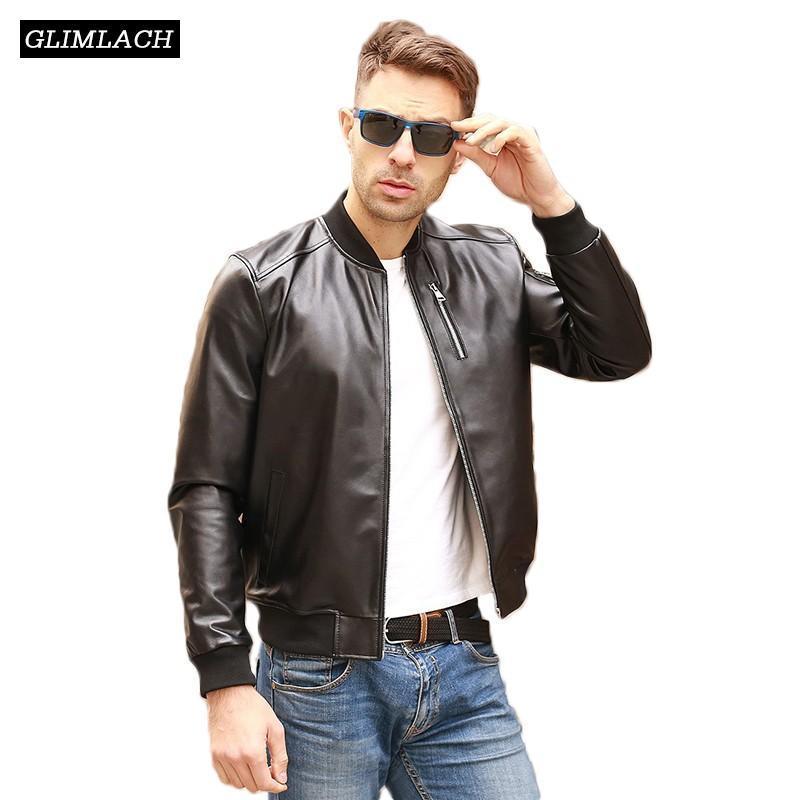 Automne Noir Aviation Bomber en cuir véritable Veste Homme en peau de mouton réel Flight Jacket en cuir Slim Pilot Manteaux Homme Veste Cuir