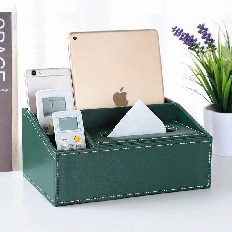 Guardanapo Box molhado limpe caixa Creative Multi-purpose Tissue Início Sala Área de Trabalho Remota de couro de armazenamento Controle Papel 97CS #