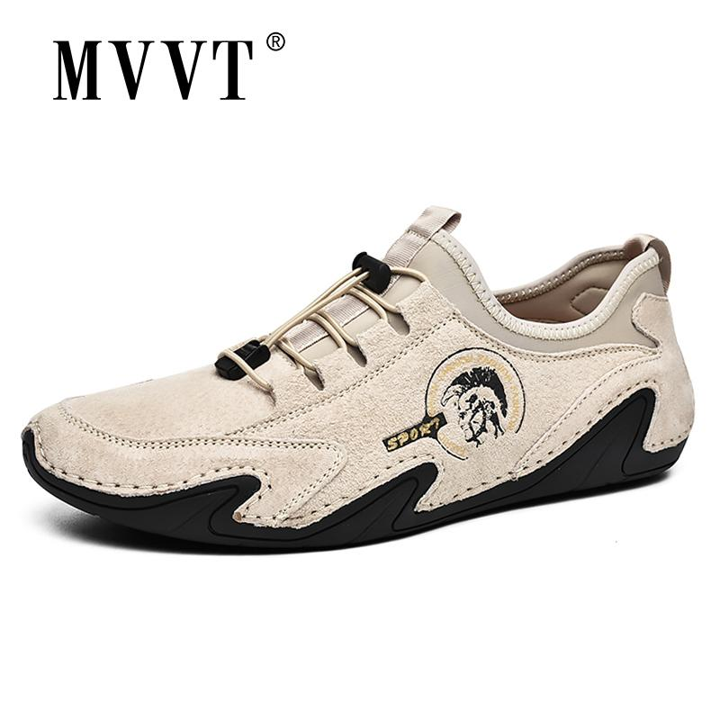 Respirável Suede Sapatos de couro de homens preguiçosos polvo Couro Casual sapatos macios condução Shoes Men Flats Lace-Up Andar a pé calçado 201008