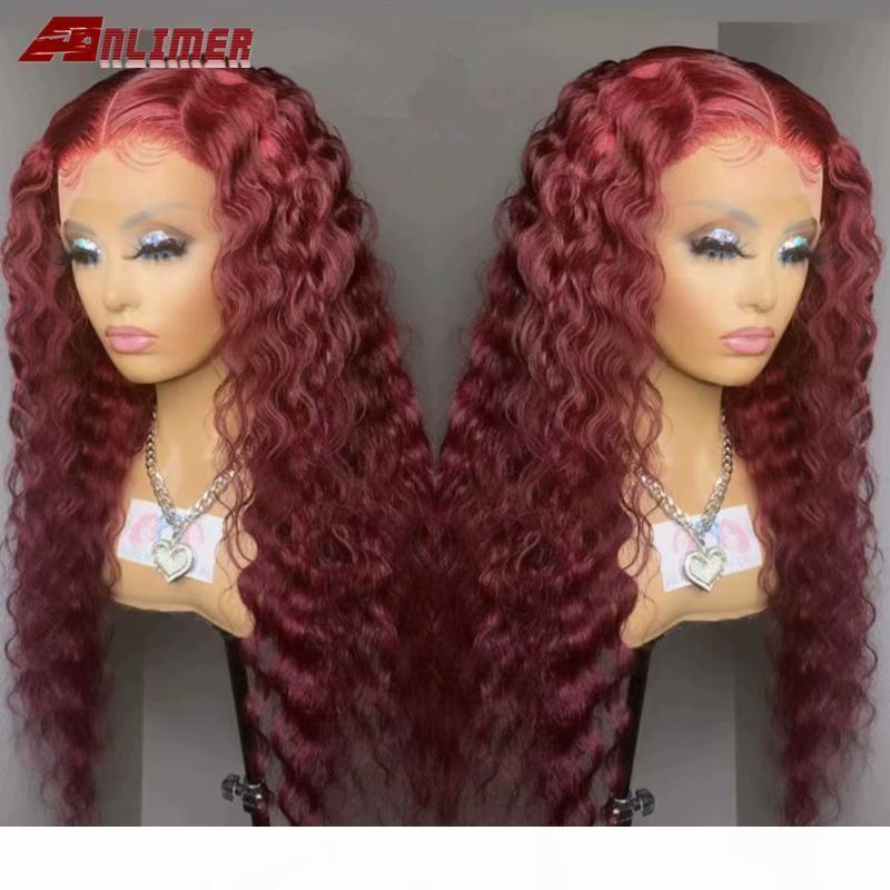 Anlimer riccio rosso Borgogna Frontal del merletto parrucca brasiliana parrucca chiusura 13x6 99J colorato Ombre merletto anteriore umano parrucche dei capelli