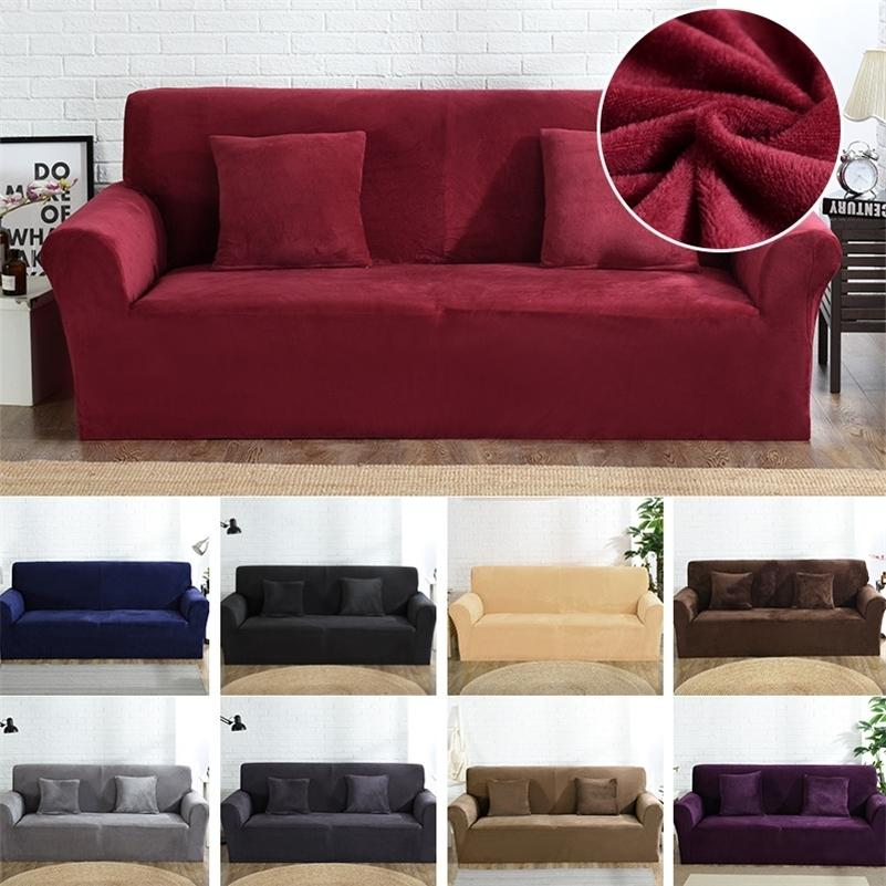 Couvercle de canapé en velours pour salle de séjour Sectionnel de canapé en forme de canapé en forme de canapé en forme de canapé en forme de coin couverture de canapé de coin 0/2/3/4 places LJ201216