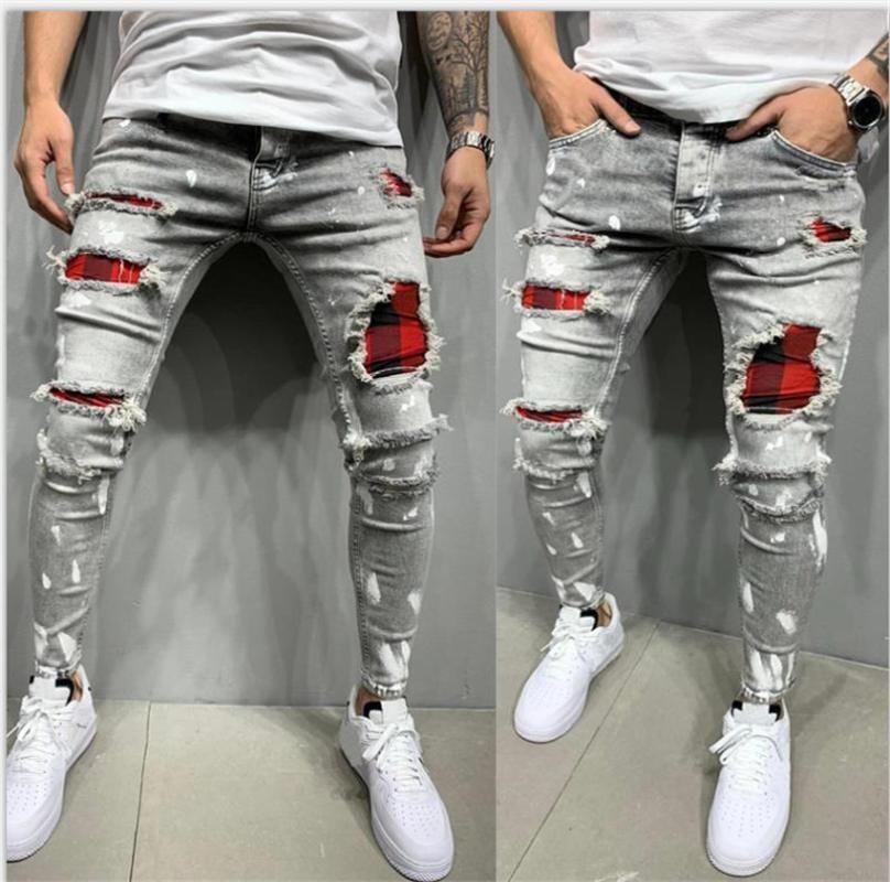 2020 nueva manera Streetwear Denim Jeans Pantalones para hombre flaco Joggers rasgado hombre de la cremallera de Hip Hop Harajuku masculinos Jeans Denim Hombre
