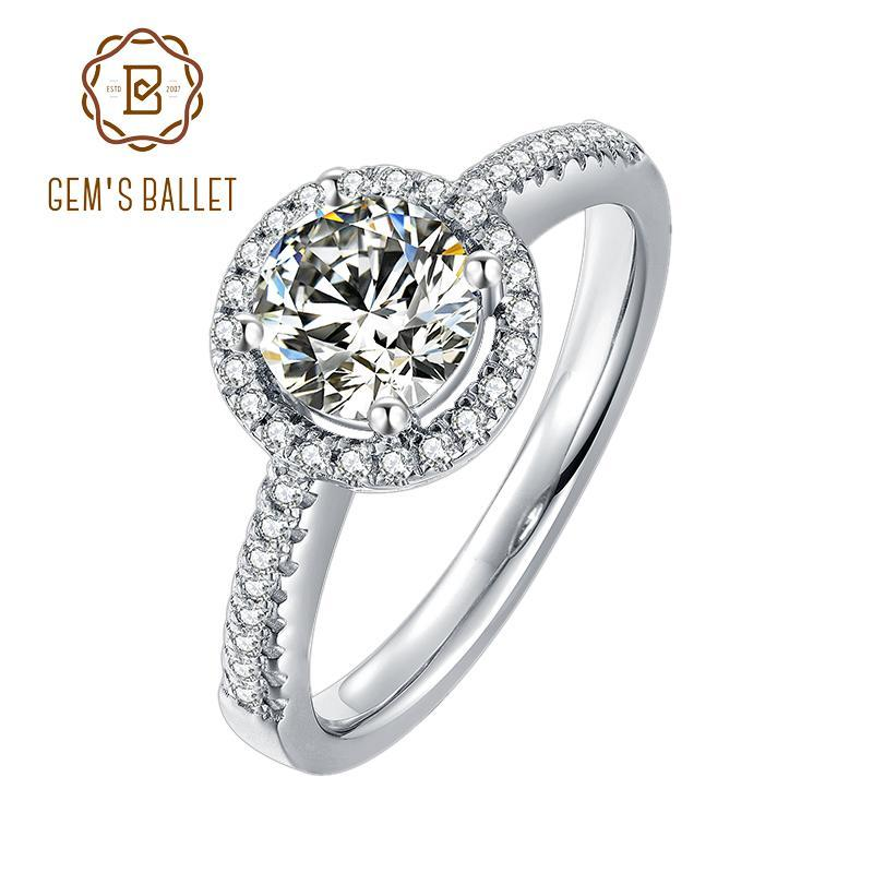 GEM'S BALLET 1Ct VVS1 Moissanite Diamond Round Halo Engagement Rings For Women 925 Sterling Silver Twinkle Stone Ring Jewelry