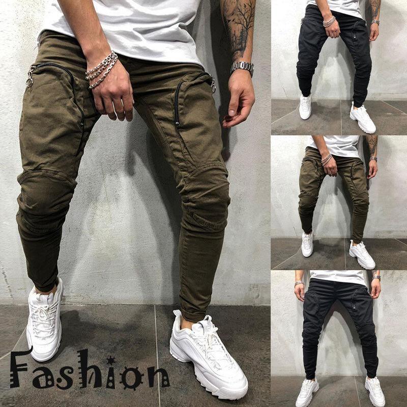 Мужские штаны Мужчины Slim Fit Брюки повседневные карандаш Jogger груз городской прямой ноги длинный почтовый карман
