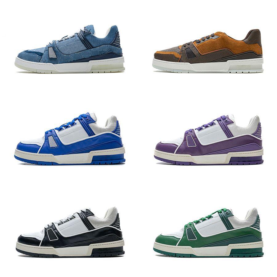 Mens 20SS Trainer Orange Blue Denim Purple Brown Crown Green Black Fashion Trainers дизайнерские кроссовки натуральная кожа повседневная обувь для мужчин