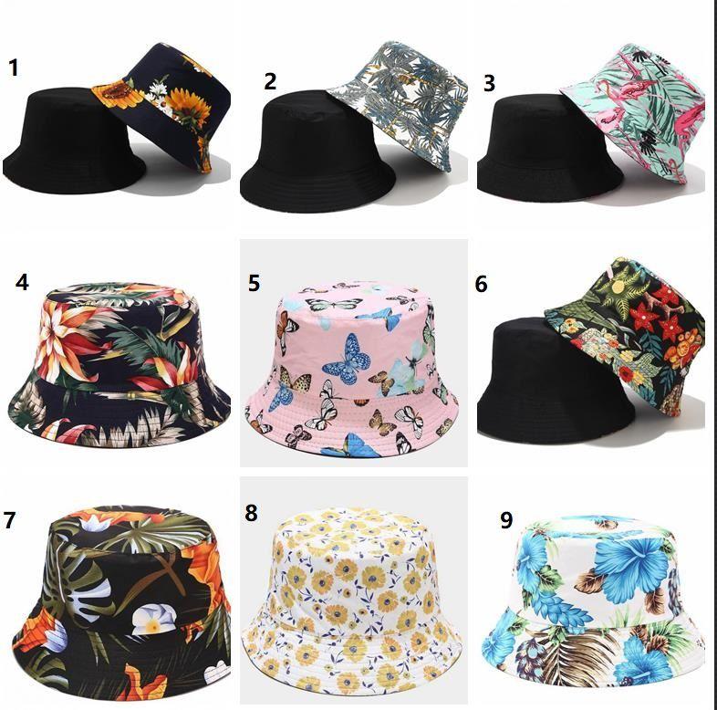 Unisex Pamuk Kova Şapka Moda Kadınlar Çiçek Çiçek Baskı Çift Taraflı Geri Dönüşümlü Kova Şapkalar Balıkçı Caps Sun Hats