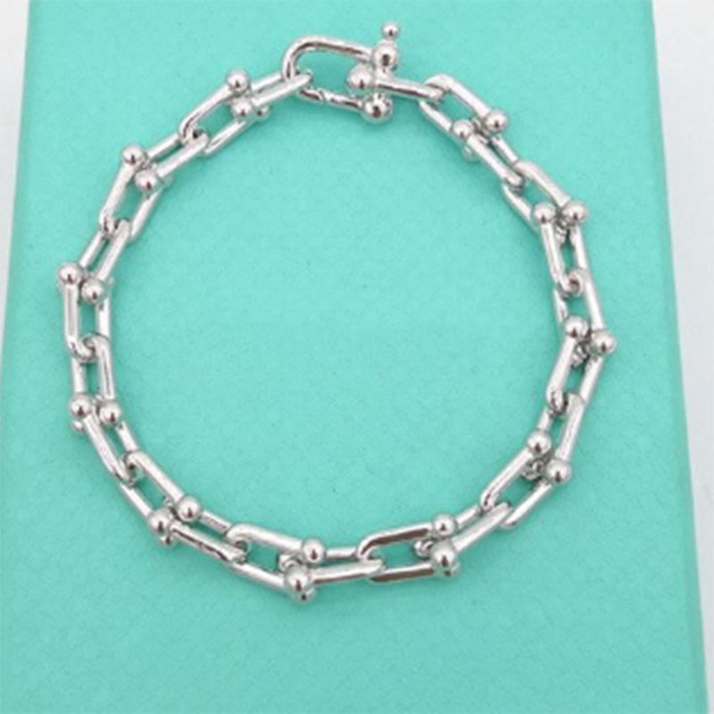 TIF925 Стерлингов 100% серебряный браслет, классическая мода жесткого одежды U-образное подвесное браслет, женский подарок для ювелирных изделий, оригинал 1: 1