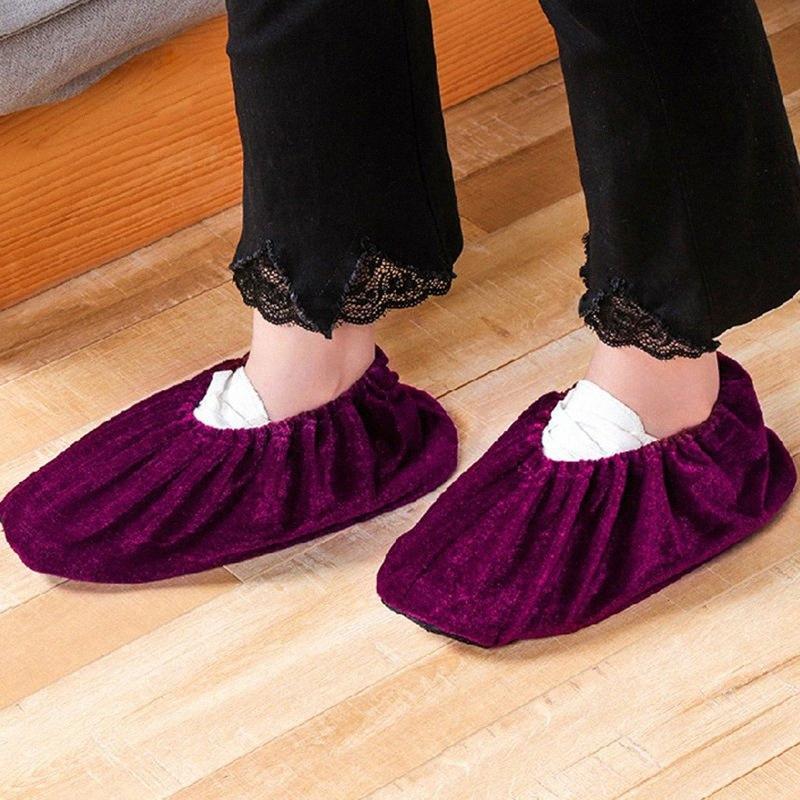 1 par de arranque Slip-en Cubrezapatos Cubrezapatos lavables Elasticidad reutilizable a prueba de polvo franela portátil Overshoes cubierta JzX3 #