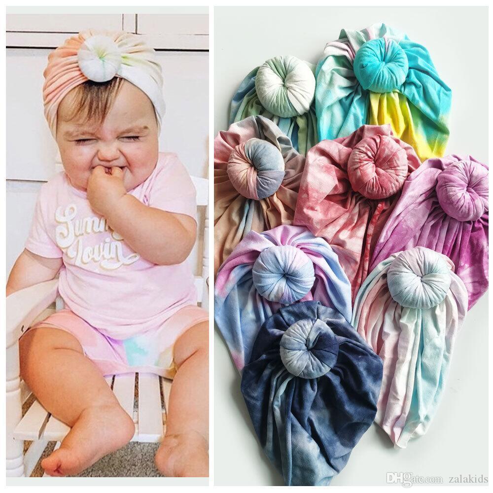 Bebek Yenidoğan Bebek Kız Erkek çörek Şapka Turban Cap Çocuk Bebek Burgulu Caps Beanie Bonnet Şapkalar Merkez Kapağı Eşarp Wrap Tie-boyalı