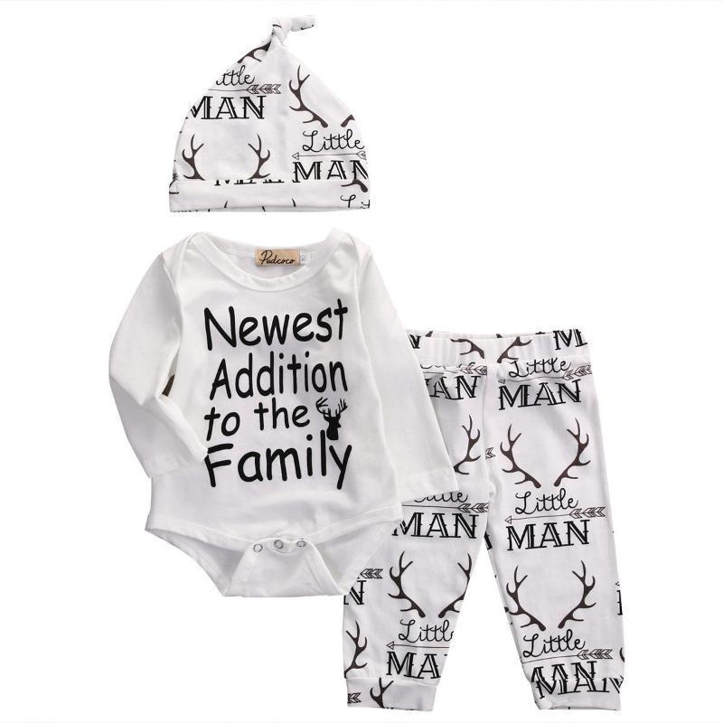 Zestawy odzieżowe Emmababy 2021 0-18m Born Baby Boys Jesień 3 Sztuk Zestaw Z Długim Rękawem EST Dodatkowy List Print Bodysuit + Spodnie + Stroje dla niemowląt HAT