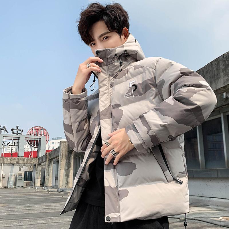 Simple otoño e invierno con capucha con capucha con capucha de camuflaje de espesor de gran tamaño de gran tamaño casual versátil moda algodón acolchado hombre