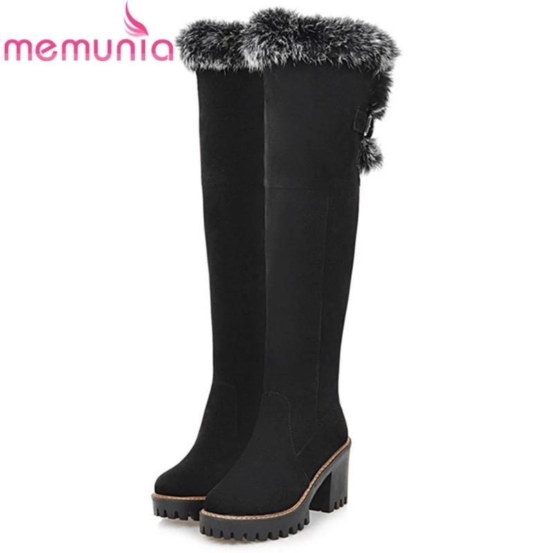 MEMUNIA Große Größe 34-43 über das Knie Stiefel Mode Schuhe Frauen halten warme Schneeschuhe High Heels Schuhe Winterstiefel 201020 Herde
