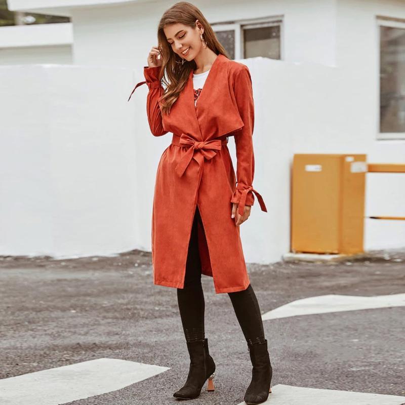 Women's Trench Coats Moda Mulheres Casaco Casual Outono Sólido Tops Manga Longa Slim Bandagem Overcoat Primavera Outerwear Qualidade