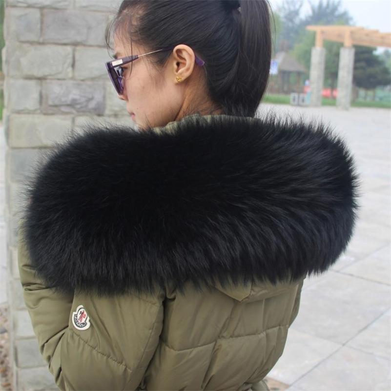 100% del invierno abrigo real azul natural del abrigo de pieles de las mujeres del mapache de las bufandas de moda suéter Cap Pañuelos de gran tamaño 201023