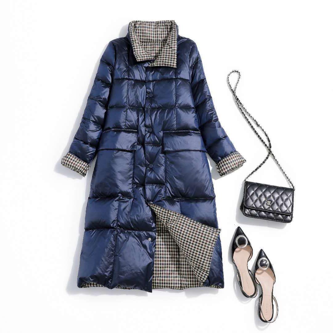 Veste d'hiver Parkas pour femmes Port des deux côtés Manteaux à carreaux Down Parka Femmes de style long-style chaleureux Overoat plus taille 5XL