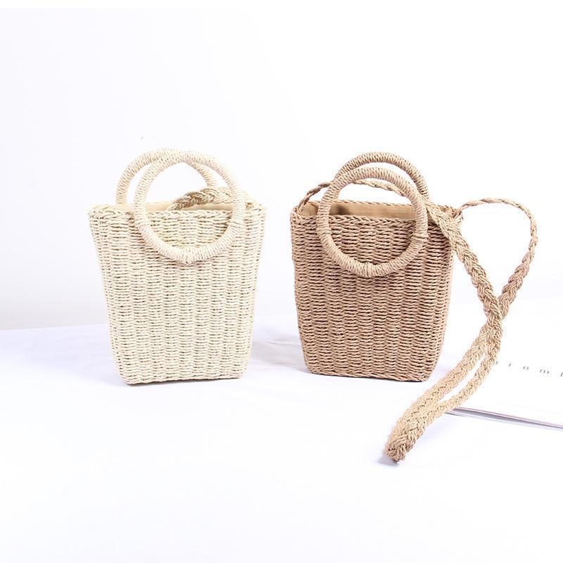 Moda mulher anel artesanal anel de viagem de palha mini saco de cesta verão senhora lidar com bolsas quadrado messenger bolsas pequena praia rmnkf