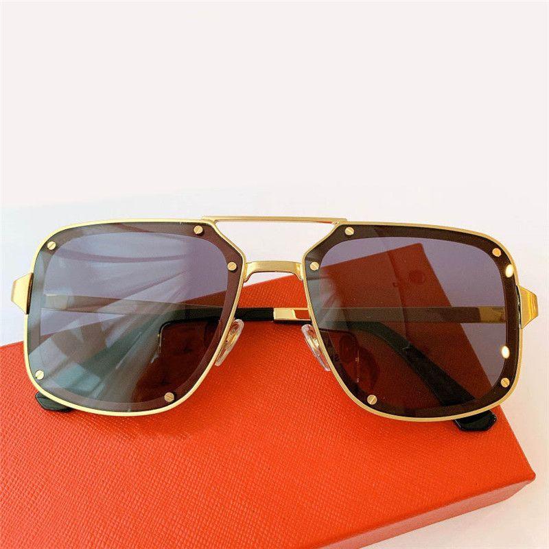 0194s Novos óculos de sol populares Mens óculos quadrados com moldura de metal e pernas simples estilo casual óculos 100% UV400 Protection Send Caixa