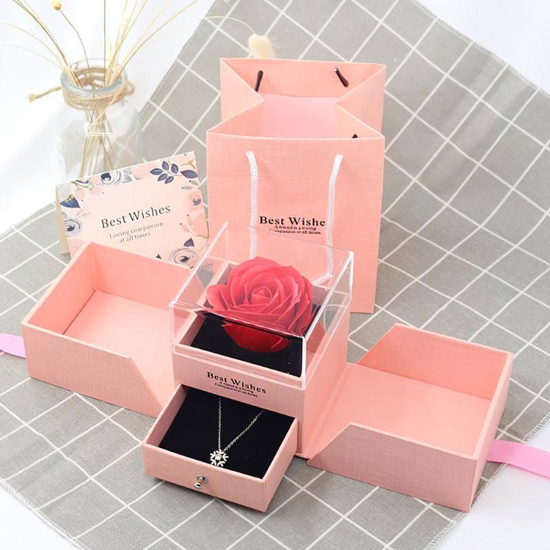 Zarte Schmuck Rose Blumenkasten Mädchen Frauen Ohrringe Halskette Lippenstift Make-up Lagerung Für Hochzeit Valentines Geburtstagstag Geschenk