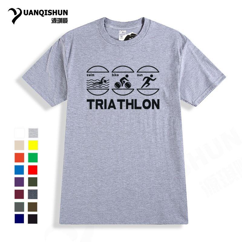 спорт Плавание Велосипед Run - Смешной Триатлон T-Shirt 2018. Мода Новых футболки высокого качества тенниска 16 цветов хлопок с коротким рукавом тройники Tops