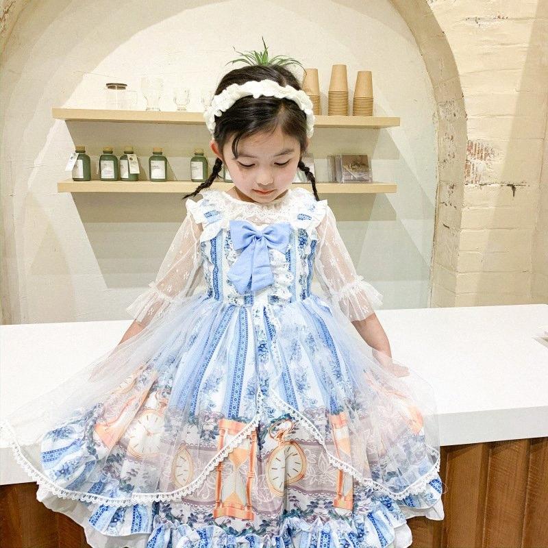 Güzel Kız Lolita elbise Pamuk Karikatür Baskılı Tasarım Kore Stil Bow Dantel Yaz Elbise Küçük Kız Peri Prenses DressZL654 IDMS #