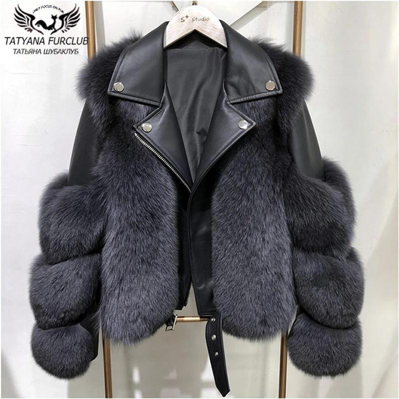 Toda genuino invierno de los abrigos con piel de oveja de Moda Outwear Las mujeres de cuero natural de la piel real de piel de zorro Chaqueta de lujo 2020 Nuevo