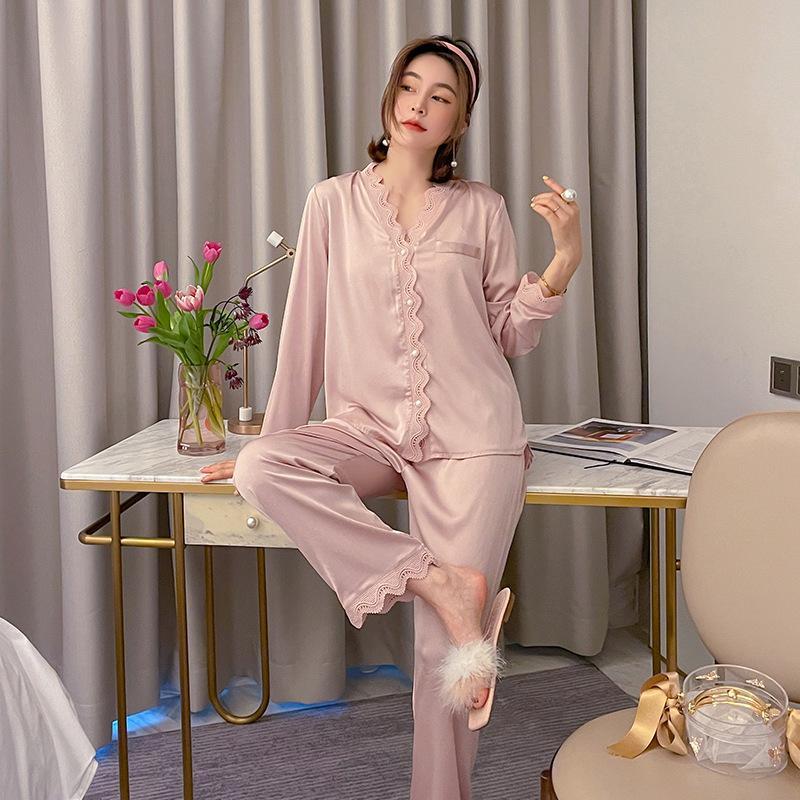 Damen-Pyjamas-Nachtwäsche Seidiges Satin-Pyjamas 2 stücke Robe Sets 2021 Neue Hemdhosen Home Kleidung Weiche Home Anzug Spitze Pijamas