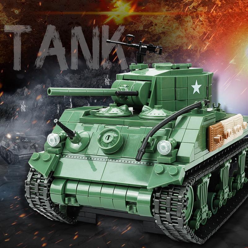 WW2 726PCS Sherman M4A1 Schwere Tank Bausteine Militärarmee Soldat Waffe Figuren Ziegel Kinder Kinder Spielzeug Geschenke X0102