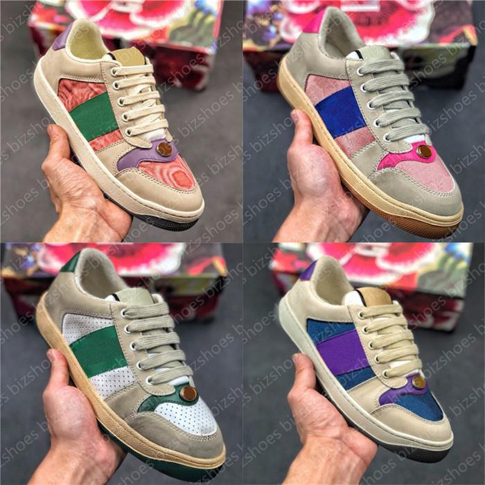 Italy Dirty Leather Shoe Green Red Stripe Luxurys Designers Canvas Ace Casual Shoes Classic Butter Distressed Screener Sneakers
