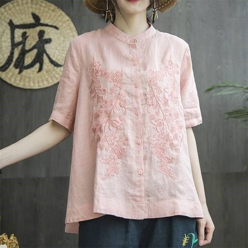 FJE Yeni Yaz Tarzı Kadın Gömlek Artı Boyutu Kısa Kollu Gevşek Nakış Pamuk Keten Bluz Büyük Bayanlar Tops Femme Blusas MGZ2 LJ200831