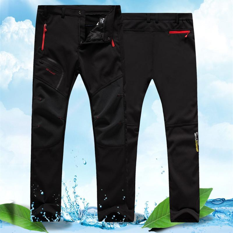 Outdoor Pants Men's Camping Waterproof Hiking Soft Shell Ski Plus Velvet Couple Quick-drying Mountain Climbing Breathable Trousers