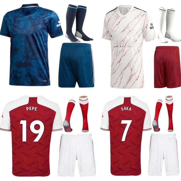 Tailândia Quality20 21 Pepe Willian Arsen Futebol Jerseys Top 2021 Home Away Camiseta Men Camiseta Camisa de futebol
