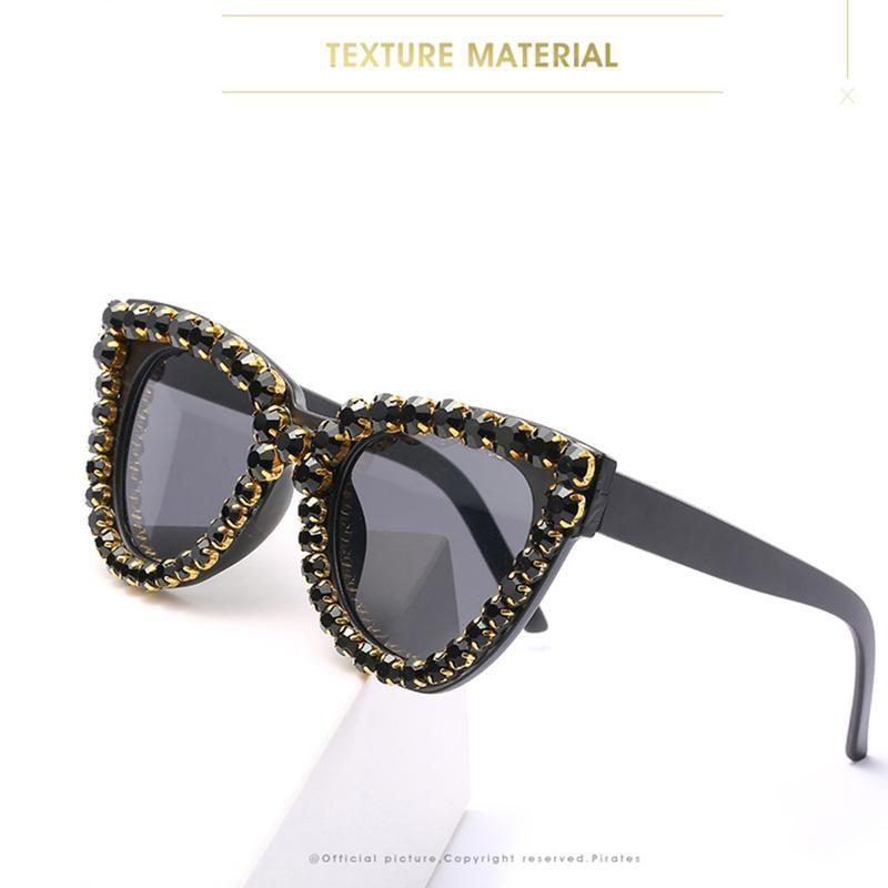 Gato de gran tamaño Gato Bling Rhinestone Retro Mujeres Ladies Moda Gafas de sol Hecho A Mano Sun Glasses Playa Party CRJTJ