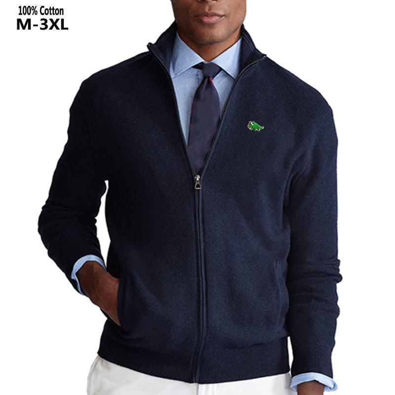 100% хлопок Повседневного высокого Воротник Толстого Мужские свитера Вышивка Марка высокого качество трикотажное мужское Zipper свитер мужская мода пальто