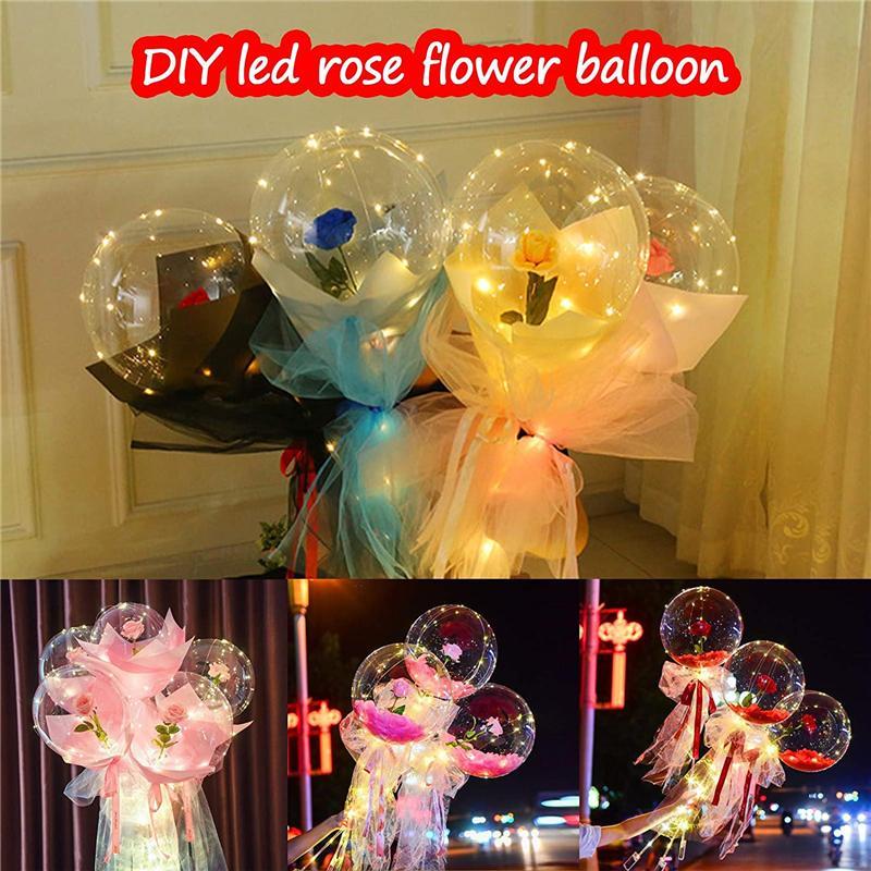 Valentinstag-LED-Ballon-Licht leuchtend Bobo-Ball blinkende LED-Leuchten Rose Bouquet Rose Geschenk Ballon für Geburtstagsfeier Hochzeitsdekoration