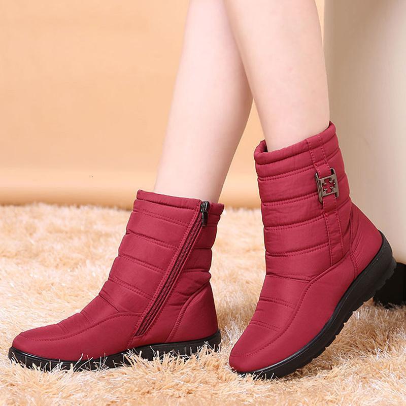 2020 Новый снег Женский теплый меховой голеностопного для женщин обувь клин пятки зима сапоги молния Botas Mujer