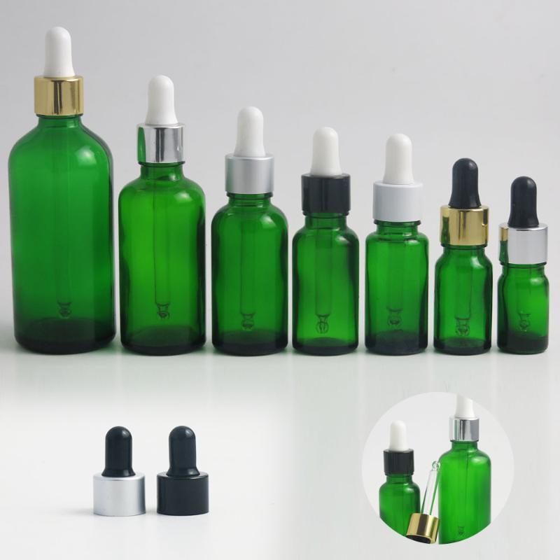 Promotion!! 20pcs 5 10 15 20 30 50 bouteille en verre de 100 ml avec pipette compte-gouttes vert e bouteilles de parfum de sérum d'huiles essentielles liquides