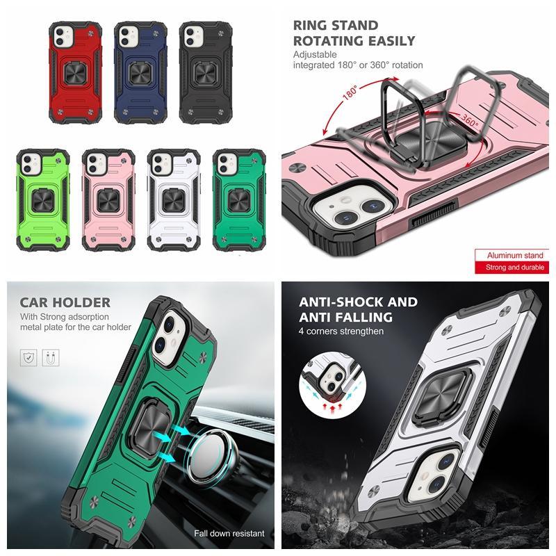 Support de voiture Aimant d'aspiration PC + TPU couche hybride pour iPhone 12 Mini Pro 11 XR MAX XS 8 7 SE 2020 antichocs 360 Defender Ring Finger Cover