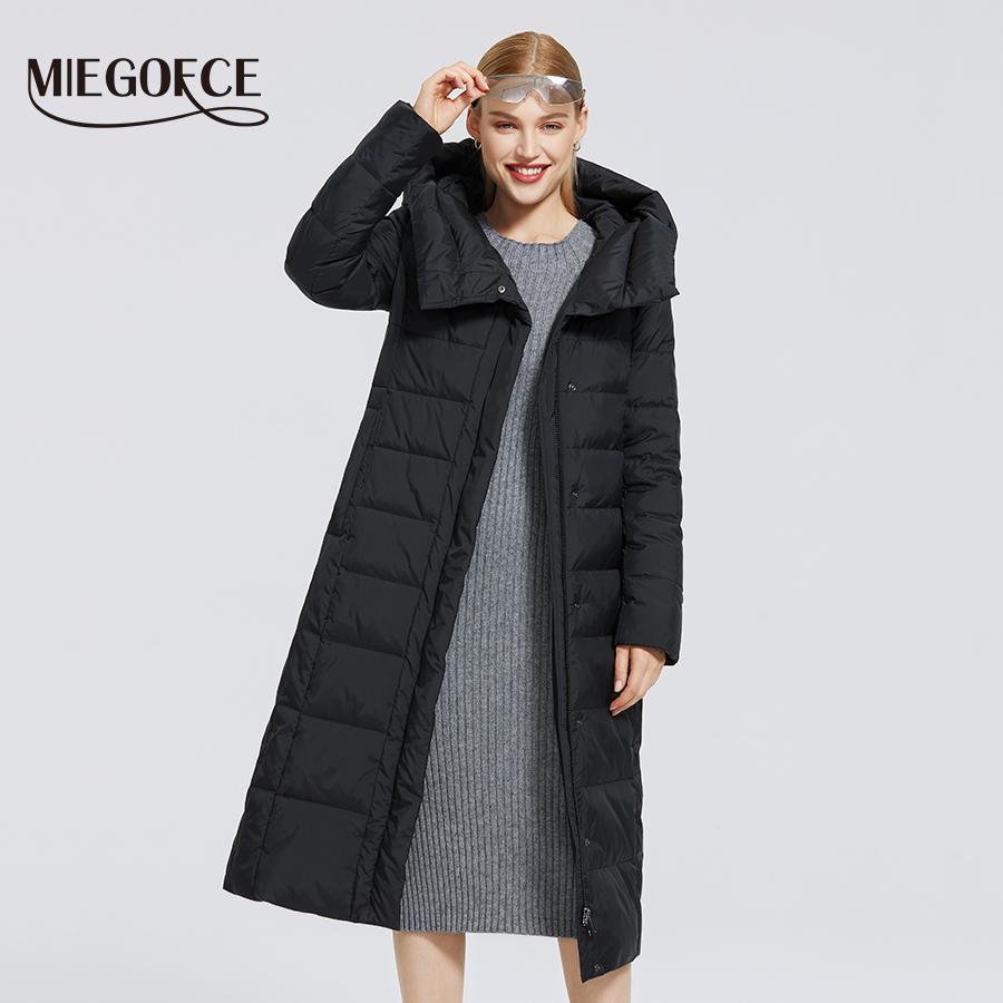 Brasão de algodão New Inverno Slant Placket Moda Mulheres Jacket de MIEGOFCE Mulheres Long Aqueça Parka Windproof Jacket Mulher Parkas 201014