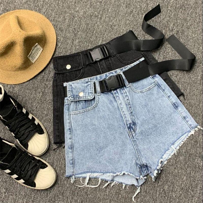 pantalones cortos de mezclilla mujeres primavera verano suelto cintura alta pierna ancha alta cintura jeans salvaje pantalones cortos T200512