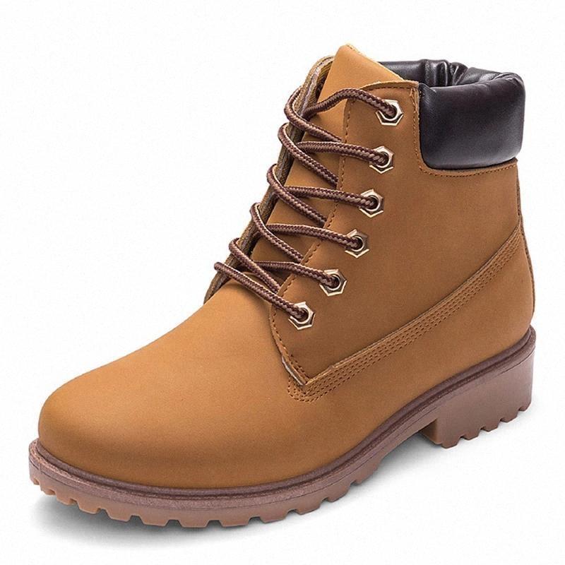 Botas de motocicleta amarillas para las botas de Martin Mujeres Otoño Zapatos de invierno Mujeres Botines de tobillo femeninos Botas Mujer 35-44 # OQ3G