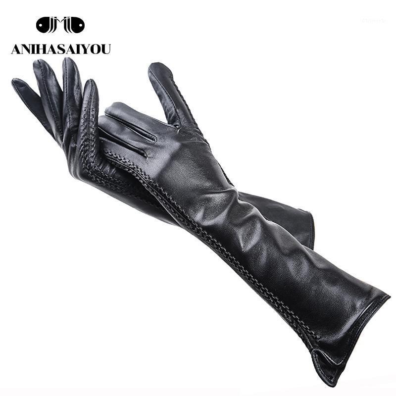2020 женские зимние перчатки, овчины женские длинные перчатки, натуральные кожаные перчатки, 40 см длинные кожаные перчатки -22271