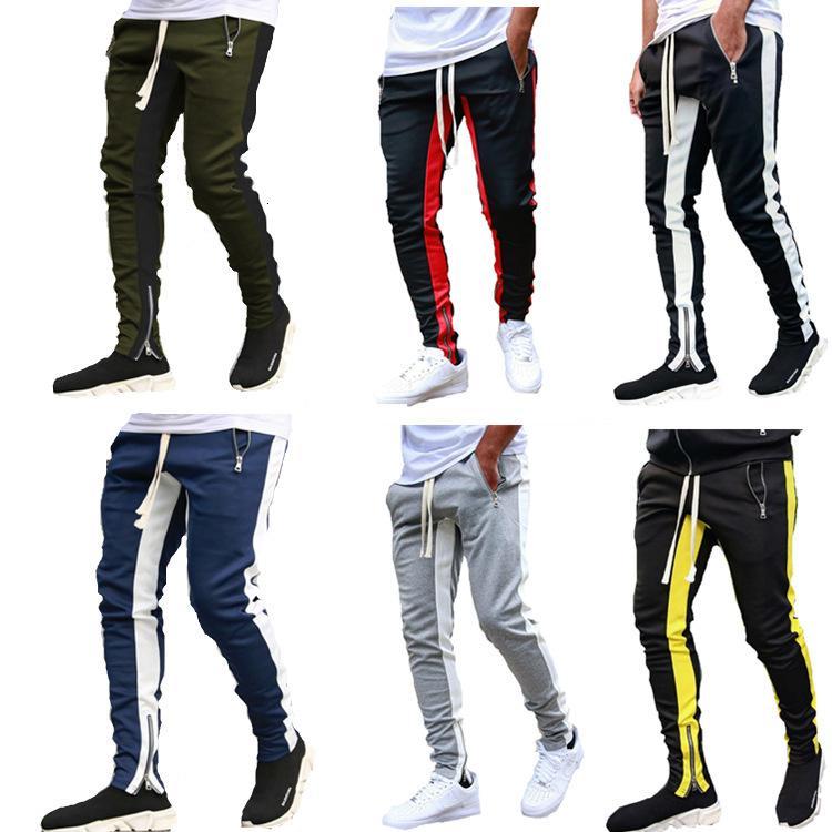 hermanos nuevos deportes musculares pantalones casuales baja de la pierna abertura de la cremallera grandes pantalones para hombres