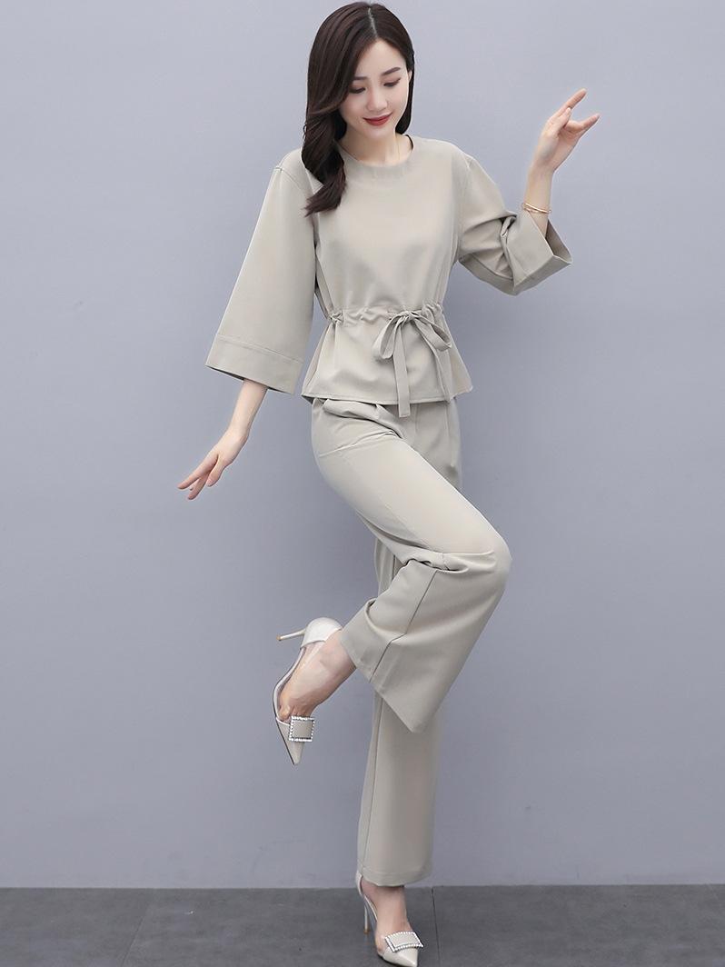 pantaloni u5hJk casuale 2020 vestiti di autunno età di riduzione pantaloni larghi a gamba larga ampio gamba Grazioso due pezzi gioiell modo allentato delle donne di tuta