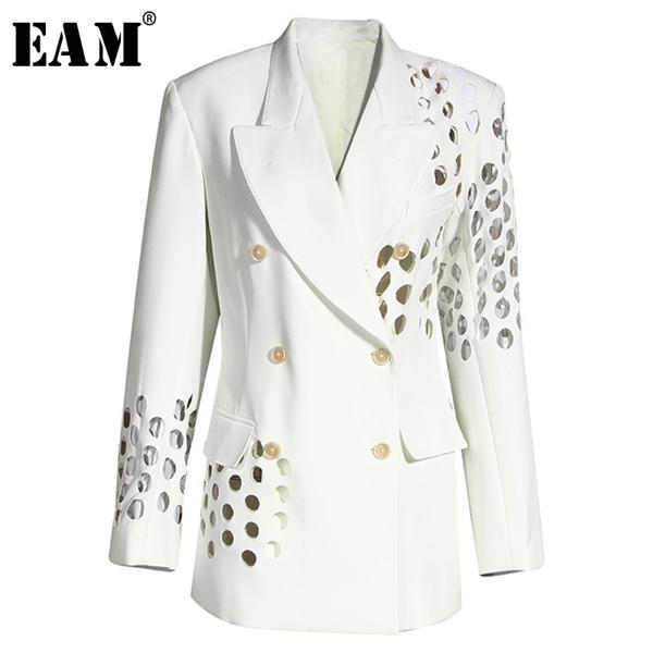 [EAM] Kadınlar Beyaz Hollow Çıkan Çift Breasted Blazer Yeni Yaka Uzun Kollu Gevşek Fit Ceket Moda İlkbahar Sonbahar 2020 1Y332 C 1008