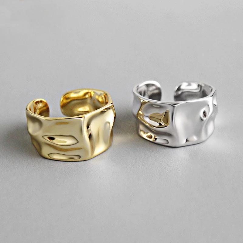 Abertura do encanto do vintage da cor do ouro Anel de prata Homens Mulheres na moda irregular geométrica anéis de noivado para o casal presente de Natal Criativo