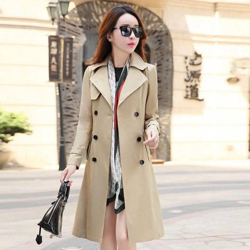 İlkbahar Sonbahar Trençkot Kruvaze Trençkot Kadın Trençkot Uzun Kadınlar Rüzgarlıklar Artı Boyutu Palto Kadın Giysileri 201016